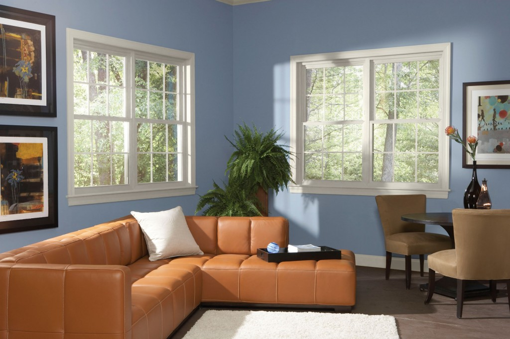 Home room with double hung windows