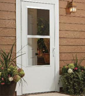 White Storm Door on red house