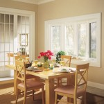 Dining room table in front of window pane