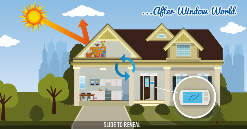House after window world graphic