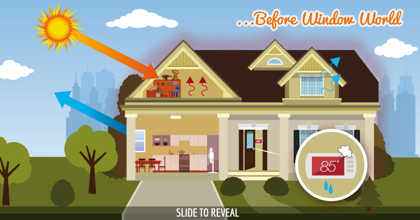 House before window world graphic